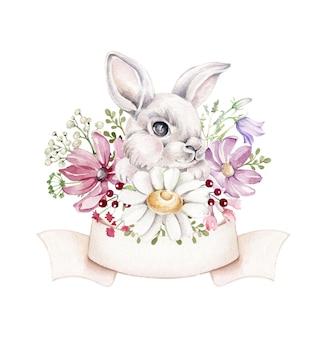 Aquarel konijn in wilde bloemen Premium Vector
