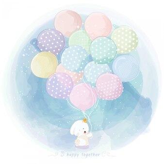 Aquarel konijn met ballon