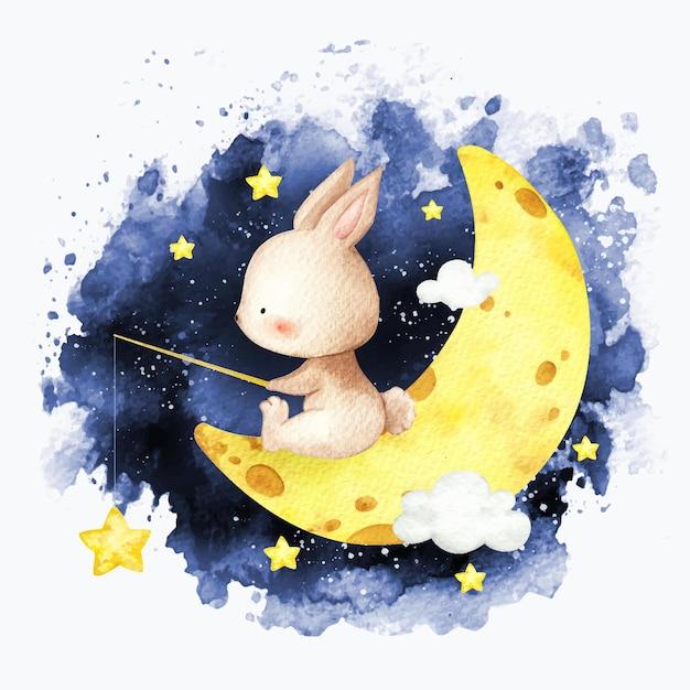 Aquarel konijn vissen op de maan