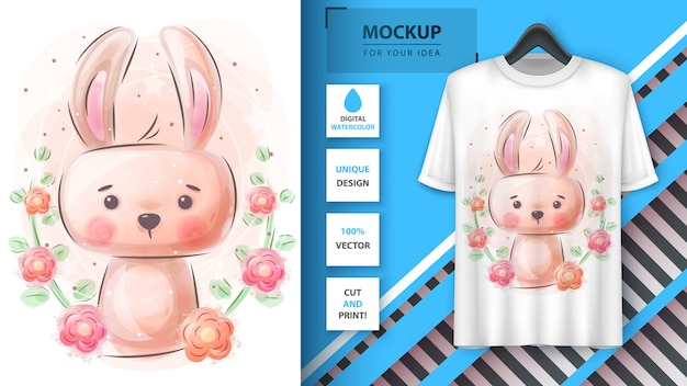 Aquarel konijn voor poster en merchandising