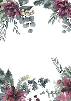 Aquarel krans met rode bloemen en groene bladeren.