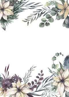 Aquarel krans met witte bloemen en groene bladeren.