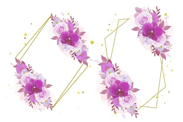 Aquarel krans van paarse roos en orchidee