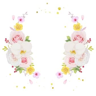 Aquarel krans van roze roos en orchidee