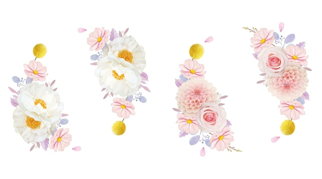 Aquarel krans van roze rozen dahlia en pioenroos