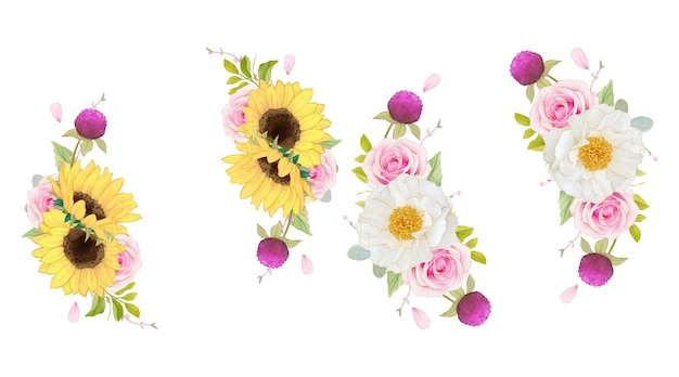 Aquarel krans van roze rozen en zonnebloem