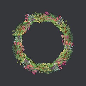 Aquarel kroon van kerstmis