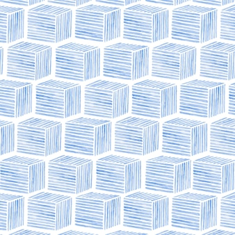 Aquarel kubieke naadloze patroon achtergrond