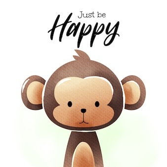 Aquarel kunst van cartoon monkey