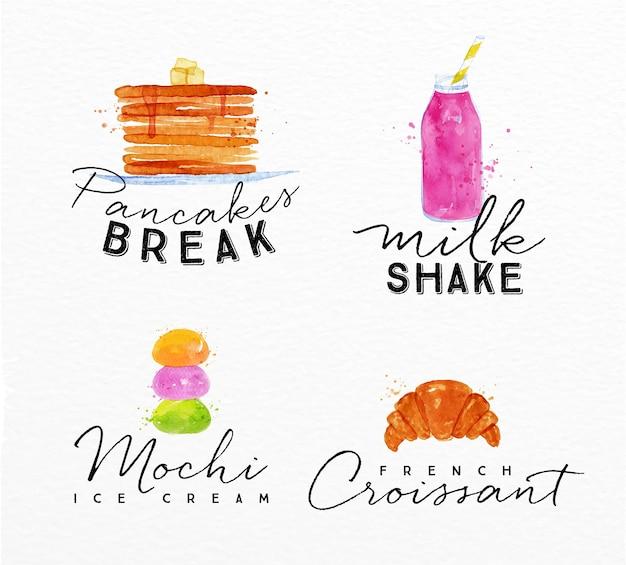 Aquarel label croissant
