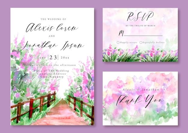 Aquarel landschap bruiloft uitnodiging lila tuin lavendel lente seizoen