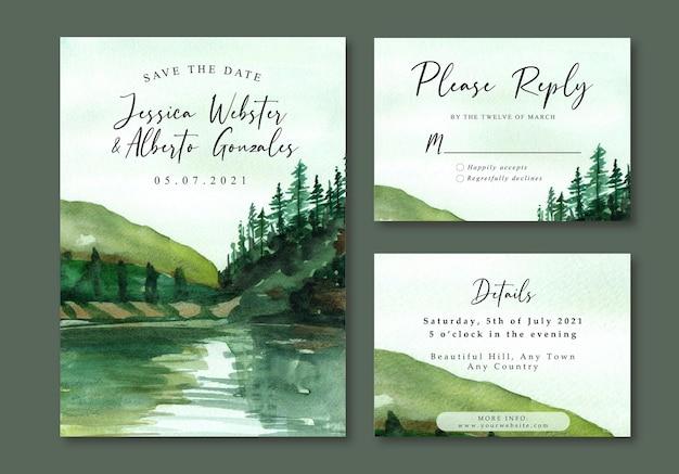 Aquarel landschap bruiloft uitnodiging met groene heuvel en meer
