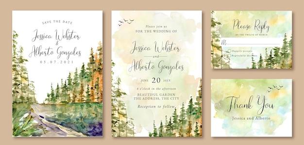 Aquarel landschap bruiloft uitnodiging pijnbomen bos en meer