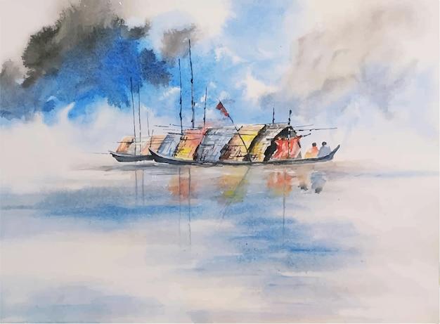 Aquarel landschap hand getekende boot op de rivier