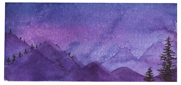 Aquarel landschap in lila kleuren, banner