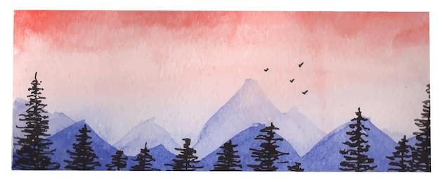 Aquarel landschap met roze zonsondergang en heuvels, banner