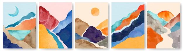Aquarel landschap poster abstract minimalistisch schilderij met bergen wall art posters
