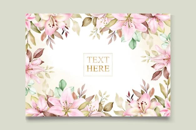 Aquarel lelie bloem uitnodigingskaarten set