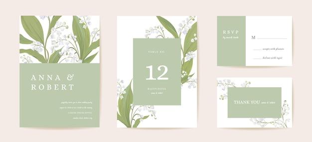 Aquarel lelie bloemen bruiloft kaart. vector lentebloem, rustieke bloesem, verlaat uitnodiging. boho sjabloon frame. botanische save the date gebladerte cover, moderne design poster