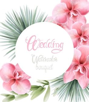 Aquarel lelie roze bloemen en palmbladeren