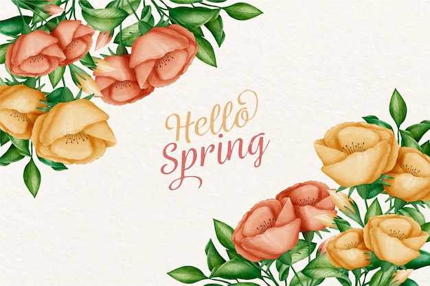 Aquarel lente achtergrond groet