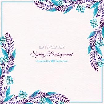 Aquarel lente achtergrond met blauwe bladeren
