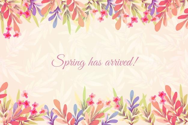 Aquarel lente achtergrond met bloemen