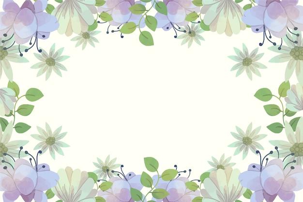 Aquarel lente achtergrond met paarse bloemen