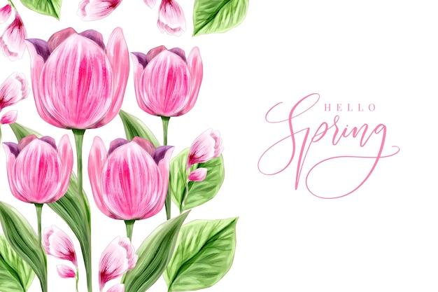 Aquarel lente achtergrondontwerp