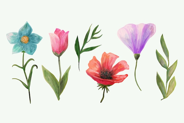 Aquarel lente bloem set