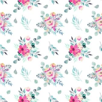 Aquarel lente bloemen boeketten, takken en bladeren naadloze patroon