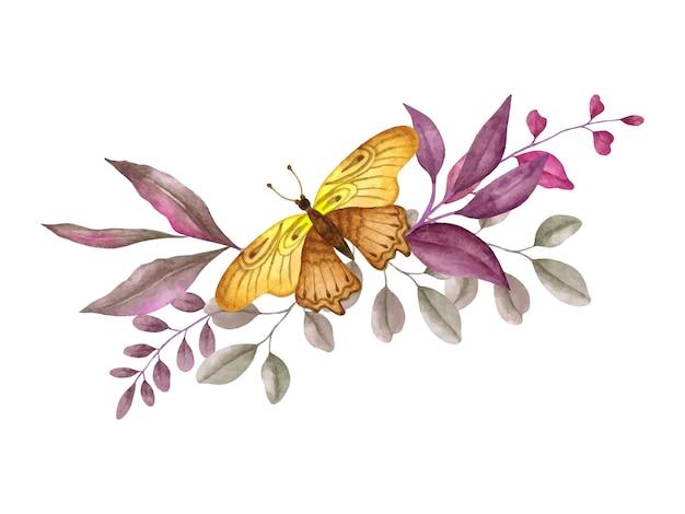 Aquarel lente bloemen en bladeren boeket met mooie vlinder