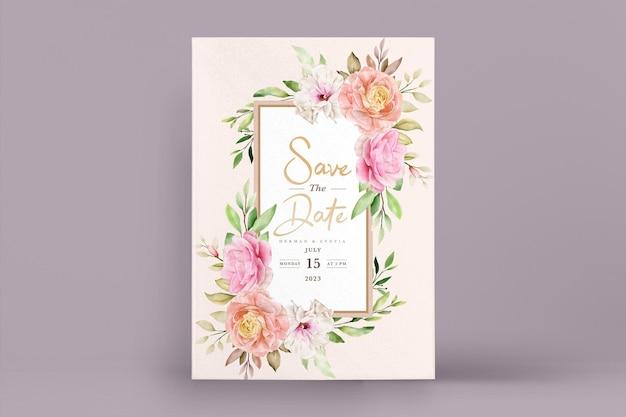 Aquarel lente bloemen en bladeren uitnodigingskaart