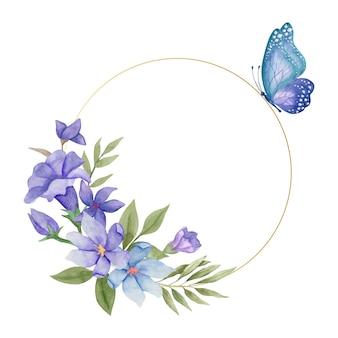 Aquarel lente bloemen frame met mooie vlinders