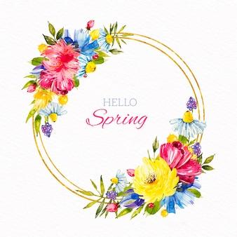 Aquarel lente bloemen frame ontwerp