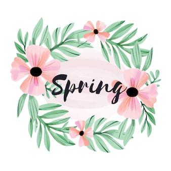 Aquarel lente bloemen frame stijl