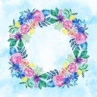 Aquarel lente bloemen frame