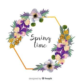 Aquarel lente bloemen gouden frame
