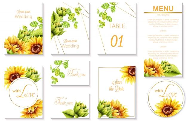 Aquarel lente bruiloft evenement uitnodigingskaarten met groene artisjok en zonnebloem