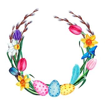 Aquarel lente pasen krans met bloemen, pussy willow, vlinder, veren en eieren. geïsoleerd op een witte achtergrond.