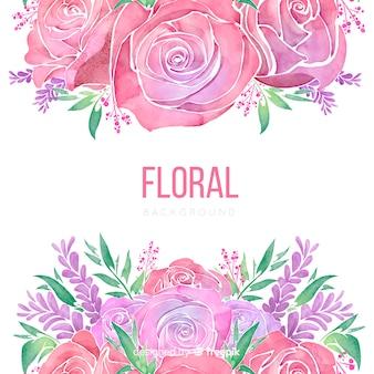 Aquarel lente rozen achtergrond