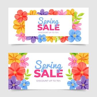 Aquarel lente verkoop banners ontwerp