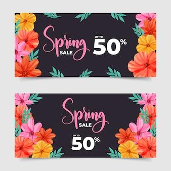 Aquarel lente verkoop banners