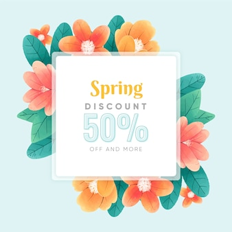 Aquarel lente verkoop met schattige bloemen