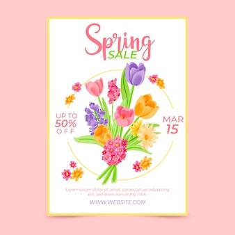 Aquarel lente verkoop sjabloon folder