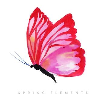 Aquarel lente vlinder