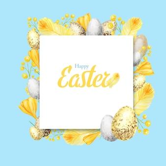 Aquarel lente vrolijk pasen frame met inscriptie.