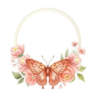 Aquarel lentebloem frame met vlinder