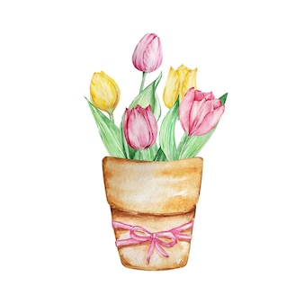 Aquarel lentebloemen, bloemen bruine vaas met tulpen