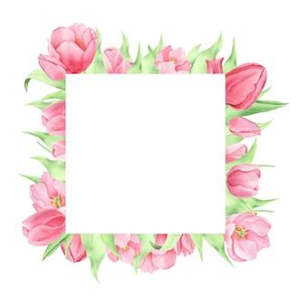 Aquarel lentebloemen op de witte achtergrond pnik tulpen vierkante frame